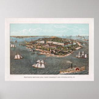 Póster Mapa ilustrado del vintage de Fort Monroe Virginia