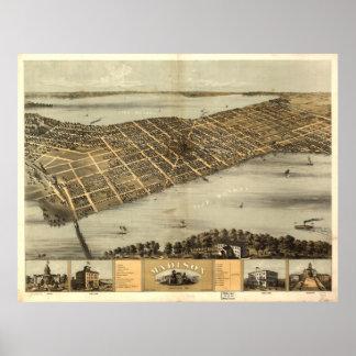 Póster Mapa ilustrado del vintage de Madison Wisconsin