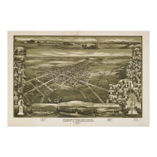 Póster Mapa ilustrado del vintage de PA de Gettysburg