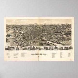 Póster Mapa ilustrado del vintage de Roanoke Virginia
