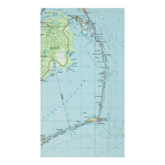 Póster Mapa meridional de Outer Banks del vintage (1957)
