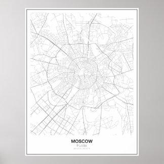 Póster Mapa minimalista de Moscú, Rusia
