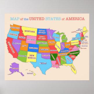 Póster Mapa multicolor de los Estados Unidos