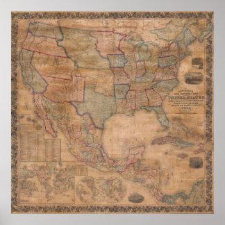 Póster Mapa mural 1856 de Mitchell Estados Unidos