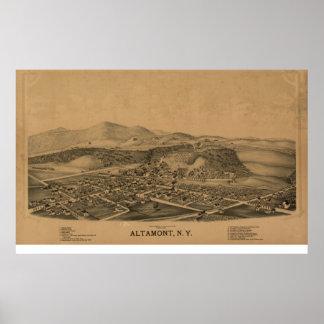Póster Mapa panorámico antiguo de Altamont Nueva York