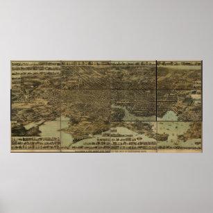 Póster Mapa panorámico antiguo de Baltimore Maryland 187