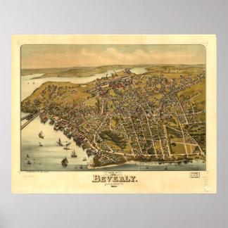 Póster Mapa panorámico antiguo de Beverly Massachusetts