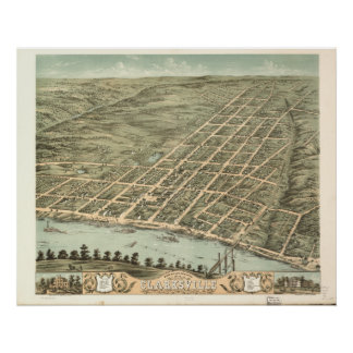 Póster Mapa panorámico antiguo de Clarksville Tennessee