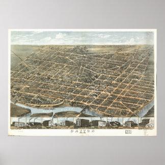 Póster Mapa panorámico antiguo de Dayton Ohio 1870