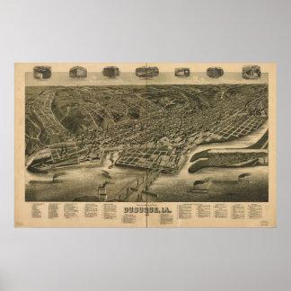 Póster Mapa panorámico antiguo de Dubuque Iowa 1889
