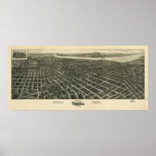 Póster Mapa panorámico antiguo de Tulsa Oklahoma 1918