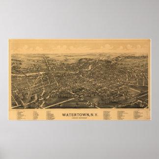Póster Mapa panorámico antiguo de Watertown Nueva York
