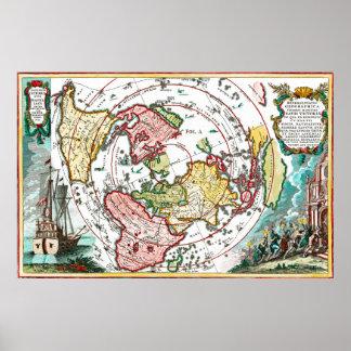 Póster Mapa plano de la tierra del viaje de Magellan