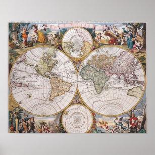 Póster Mapa polar del hemisferio doble