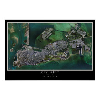 Póster Mapa por satélite del poster de Key West la