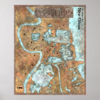 Póster Mapa terrestre de la ciudad: Azules