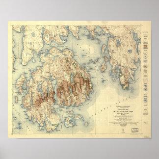 Póster Mapa topográfico del parque nacional 1931 del