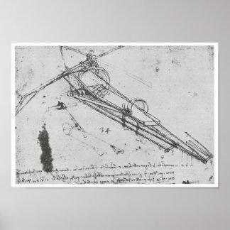 Póster Máquina de vuelo, Leonardo da Vinci, 1490