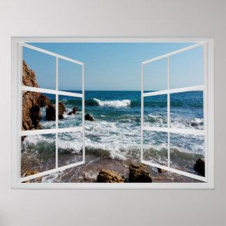 Póster Marco de ventana con la costa y las ondas rocosas