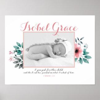 Póster Marco floral de la foto del bebé con verso de la