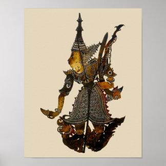 Póster Marioneta malasia antigua de la sombra