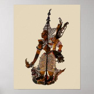 Póster Marioneta malasia antigua Lakshmana de la sombra