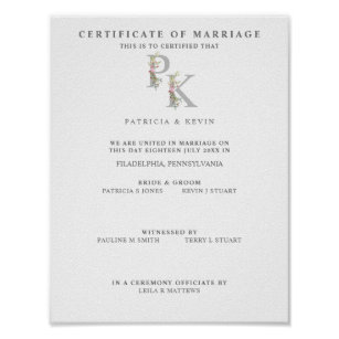 Póster Marriage Certificate with Floral Initials in Pink