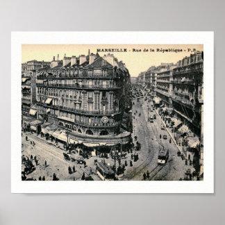 Póster Marsella, Francia Rue de la Republique, vintage