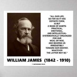 Póster Masa de William James de la cita del destino de