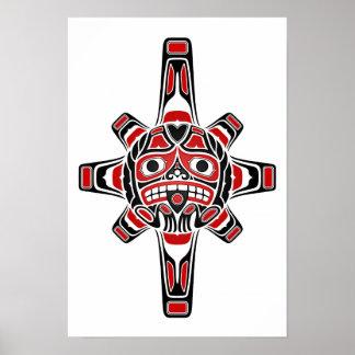 Póster Máscara roja y negra de Sun del Haida en blanco