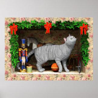 Póster Materia del gato y del navidad