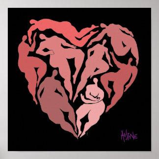 Póster Matisse inspiró figuras en forma del corazón