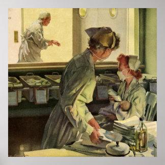 Póster Medicina del vintage, enfermeras con los niños