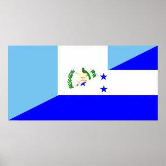 Póster medio símbolo de la bandera de Guatemala Honduras