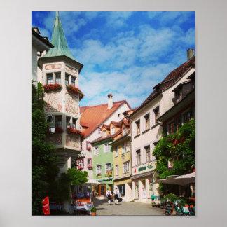 Póster Meersburg en la ciudad del lago de Constanza.