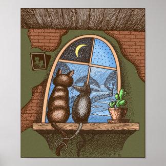 Póster Mejores amigos para siempre, gato y ratón,