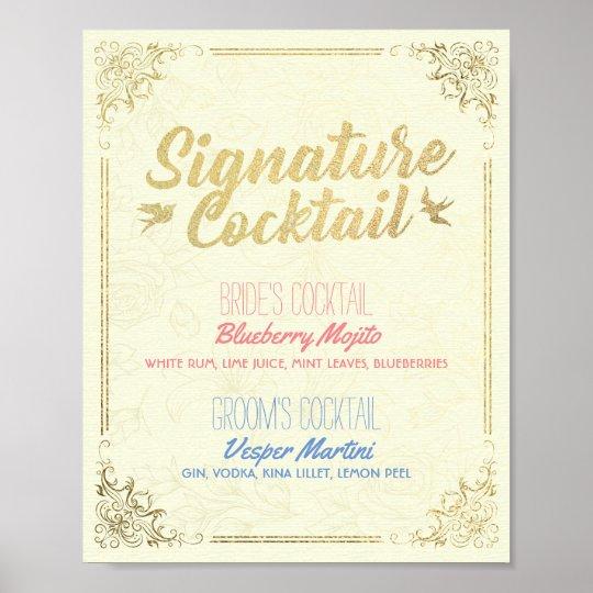 Póster Menú de la bebida del cóctel de la firma del boda