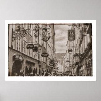 Póster Mercados de los boutiques de las placas de calle