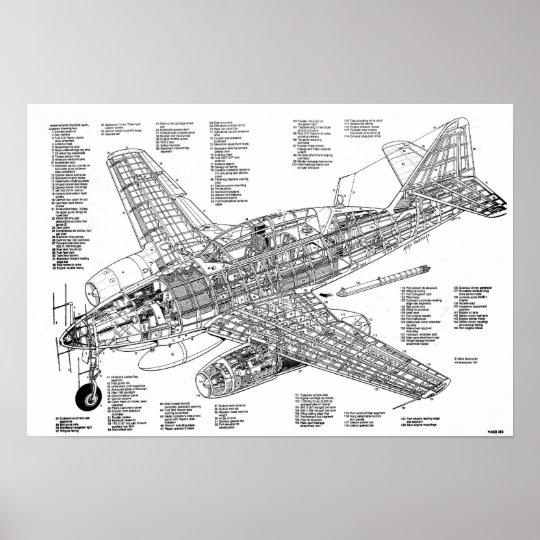 Póster Messerschmitt me-262 jet fighter (Diagram)