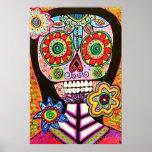 Poster mexicano del cráneo del azúcar del rosa de  póster