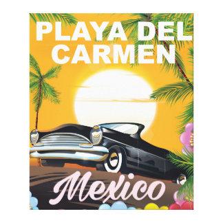 Poster mexicano del viaje en coche del Playa del Impresion En Lona