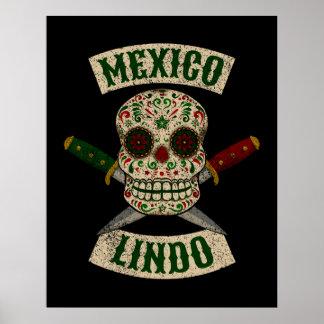 Póster México Lindo. Cráneo mexicano con las dagas