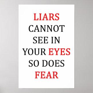 Póster Miedo de los ojos de los mentirosos