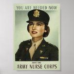 Poster militar del cuerpo de enfermera del vintage