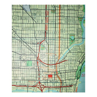 Póster Milwaukee, poster del mapa del vintage de los WI