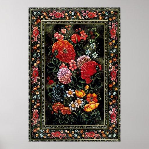 Póster Miniatura persa de preciosas flores brillantes