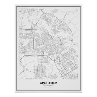 Poster minimalista del mapa de Amsterdam (estilo Póster