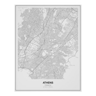 Poster minimalista del mapa de Atenas, Grecia Póster