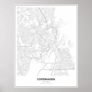 Poster minimalista del mapa de Copenhague, Póster
