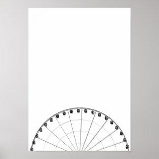 Poster minimalista negro y blanco de la noria póster